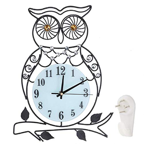 LIZHIHUI Wall Clocks Metal Owl Iron Battery Operated Mute Easy to Read Officeschool Easy to Read Large Numbers Living Room Bedroom Home Decor Office Hotel Bar (Best Place To Sell Second Hand Furniture)