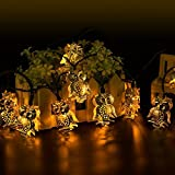 Solar Powered String Lights 20 Led Owl Shape 2 Modes Waterproof Warm White Solar String Lights for Christmas, Outdoor/ Indoor Decoration