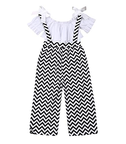 Kids Toddler Baby Girl Ruffle Sleeve Fashion Blogger T-Shirt Tops+Stripe Flare Pants Clothes (2T, Black-2)