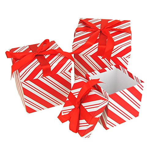 - Homeford Candy Cane Stripe Nested Holiday Christmas Gift Boxes, 5, 6 and 7-Inch, 3-Piece