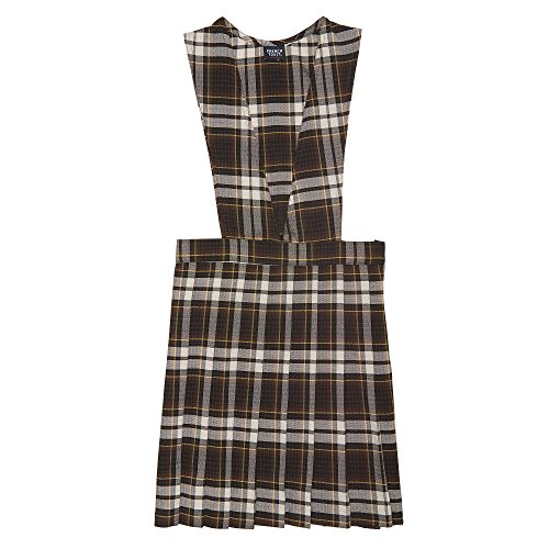 (French Toast Little Girls' Plaid V-neck Jumper, Brown Plaid,)
