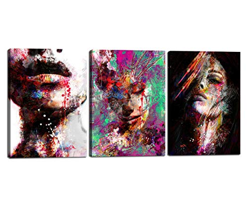 "Modern Artwork Abstract Color Woman Face Painting on Canvas Giclee Print Wall Pictures for Living Room Home Drcoration 3 Piece Wall Art Decor Posters Stretched Framed, Ready To Hang 20""x28"" x3P"