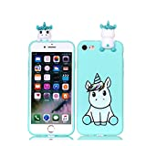 DAMONDY iPhone 8 Case,iPhone 7 Case, Cute 3D Cartoon Animals Pattern Soft Gel Silicone Slim Design Rubber Thin Protective Cover Phone Case for Apple iPhone 7 (2016), iPhone 8 (2017)-Cute Unicorn