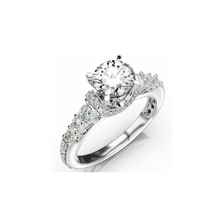 2.33 Carat Round Cut Designer Four Prong Round Diamond Engagement Ring (I J Color, I2 Clarity)
