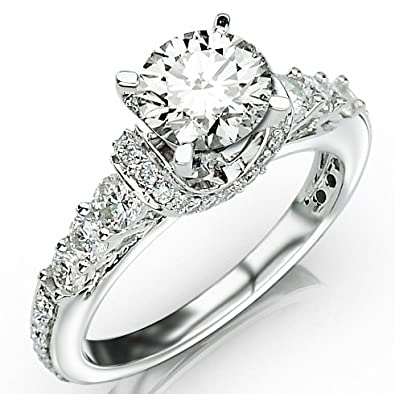 6a6bbcfd3 1.6 Carat Designer Four Prong Round Diamond Engagement Ring with a 0.75  Carat H-I SI2-I1 Center | Amazon.com