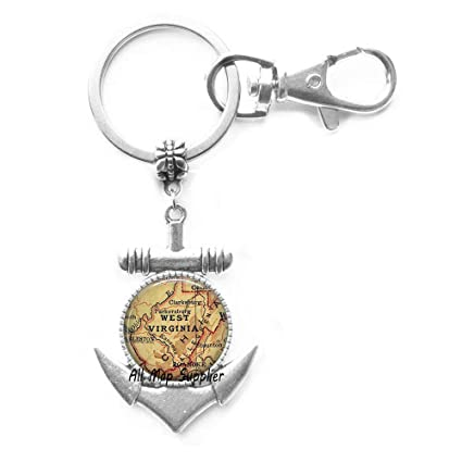 Amazon.com: Gorgeous Anchor Keychain West Virginia map ...