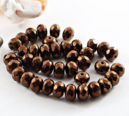 40 pcs 7mm JET BRONZE Czech Rondelle Beads Glass Rondelle BeadsCzech Faceted Rondelle Bead Donut Beads