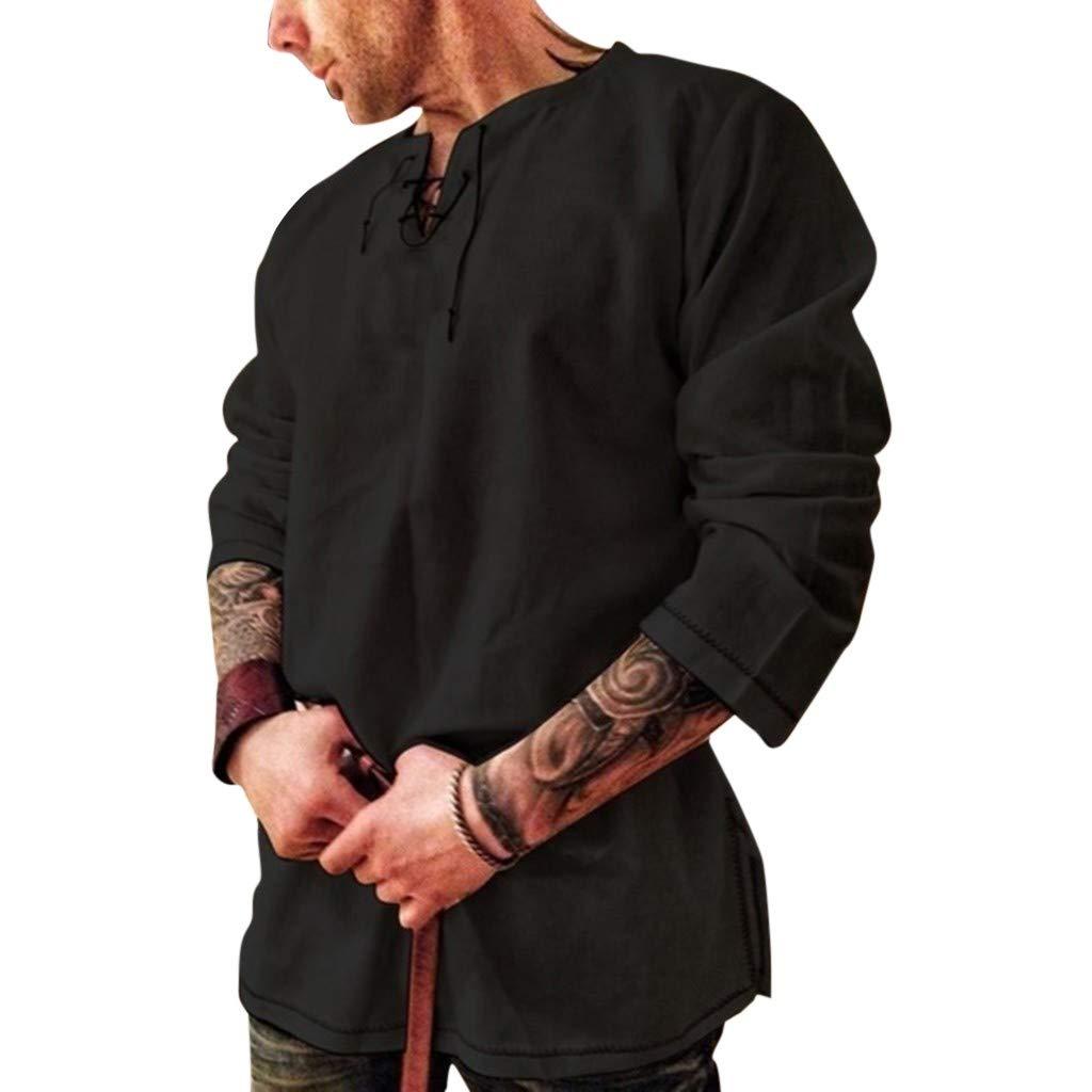 ┃BYEEEt┃ Camicia da Pirata Medievale Camicia D Epoca per Uomo con Lacci e Colletto Alto