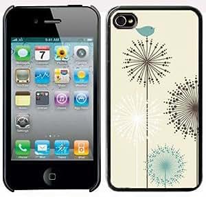 Apple iPhone 5 5S Black 5B194 Hard Back Case Cover Color Vintage Birds Dandelion Flower Design