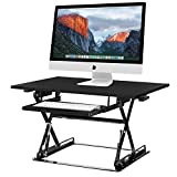 Halter ED-257 Preassembled Height Adjustable Desk Sit / Stand Elevating Desktop with Built-In Cable Management - Black