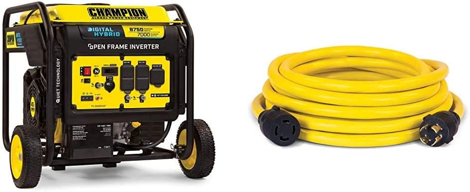 Champion Power Equipment 100520 8750-Watt DH Series Open Frame Inverter, Electric Start & 25-Foot 30-Amp 250-Volt Generator Power Cord for Manual Transfer Switch (L14-30P to L14-30R)