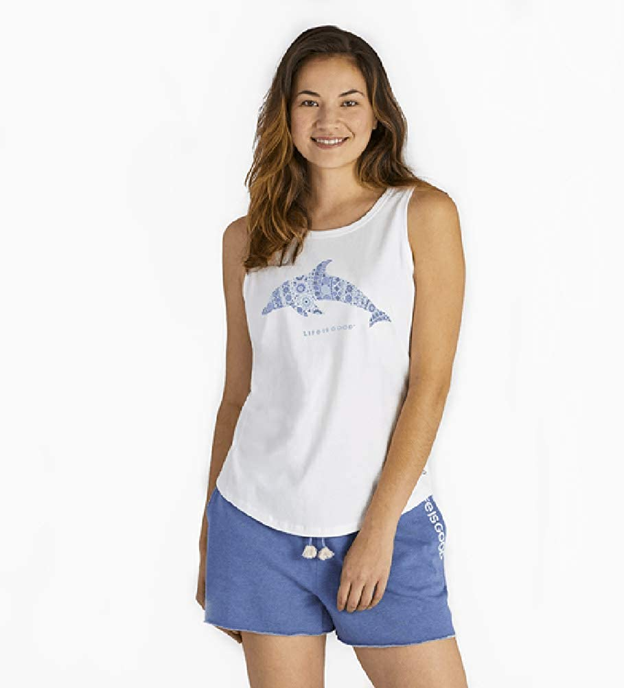 Life is Good Womens High-Low Crusher Graphic Tank Top