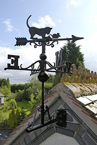 Weathervane Rooftop Black (Cast Iron Cat/Mouse Weather Vane)