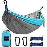 Kootek Camping Hammock Double & Single Portable Tree Hammocks with 2 Hanging Ropes, Lightweight Nylon Parachute Hammocks for Backpacking, Travel, Beach, Backyard, Hiking