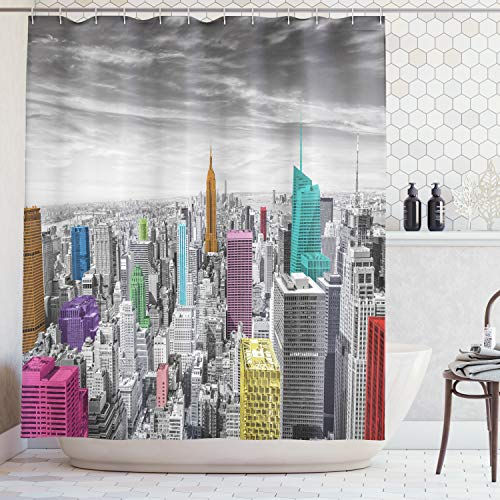 Ambesonne Cityscape Decor Shower Curtain by, NYC New York City Skyline Panoramic Picture, Polyester Fabric Bathroom Set with Hooks, 69 X 70 Inches, Gray Pink