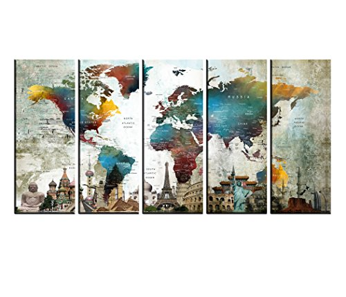 Extra Large World Map Wall Art Push Pin Canvas Print set Multi Panels 5 pieces, Atlas Globe wall decal for Kids Room, Framed, Large Watercolor Wall Decor hr155 -