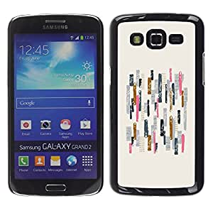 TopCaseStore / la caja del caucho duro de la cubierta de protección de la piel - Lines Pattern Pink Beige Minimalist Abstract - Samsung Galaxy Grand 2 SM-G7102 SM-G7105