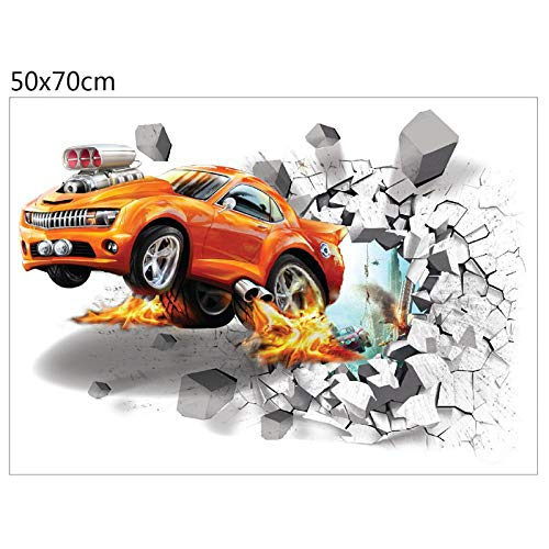 Woudery 7050CM Big Size 3D Dimensional Stickers Toy Soccer Sport Car Football Fire for Wall Cool Children Creative Stickers 01Car