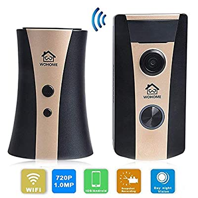 Video Doorbell, WOHOME Camera WiFi Doorbell Video Door Phone for Home Security Two-Way Audio Wide-Angle Lens Motion Detection WDR Night Vision App Control for iOS and Android