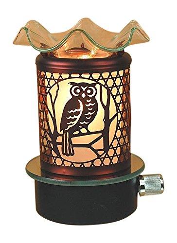 L&V Electric Metal Plug In Night Light Tart Burner Oil Warmer Night Light Owl Design