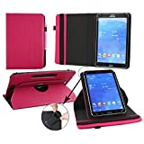 Emartbuy® Samsung Galaxy Tab S2 SM-T810 / SM-T815 9.7 Inch Tablet Universal ( 9 - 10 Inch ) Dark Pink 360 Degree Rotating Stand Folio Wallet Case Cover + Pink Stylus