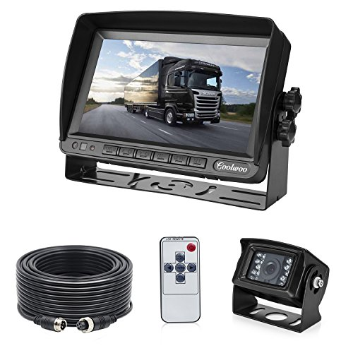 Backup Camera and Monitor System for Truck, 7-inch High Definition Digital Display + IP 67 Waterproof 18 IR LED Night Vision Rear View Camera