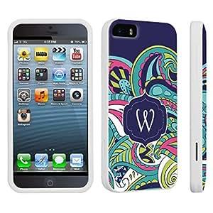 DuroCase ? Apple iPhone 5 / iPhone 5s Hard Case White - (Mint Flower Monogram W)