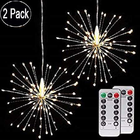 Hand-made Chandeliers Firework Light,Indoor/Outdoor Christmas Decoration Fairy Light,8 Modes 120 LED String lights with Remote Control (Warm White) -