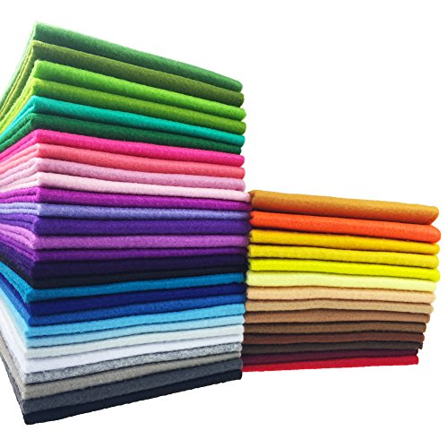 flic-flac 42pcs1.4mm Thick Soft Felt Fabric Sheet Assorted Color Felt Pack DIY Craft Sewing Squares Nonwoven Patchwork (25cm 25cm) ()