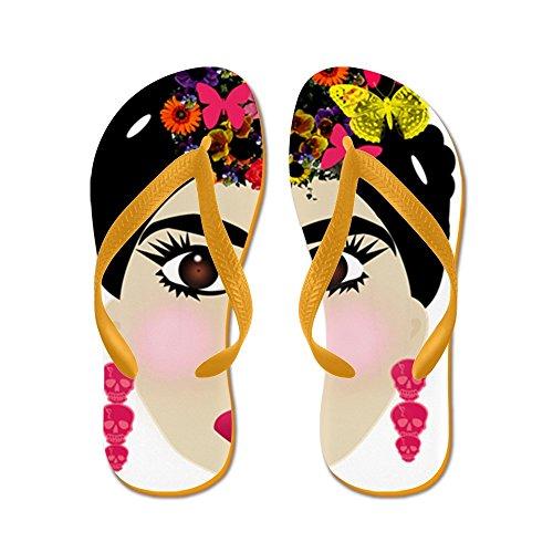 Cafepress Frida Khalo - Flip Flops, Grappige String Sandalen, Strand Sandalen Oranje