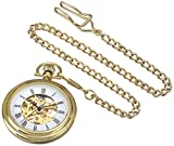 Stuhrling Original Men's 6053.33333 Vintage Mechanical Skeleton 23K Gold Plated Pocket Watch