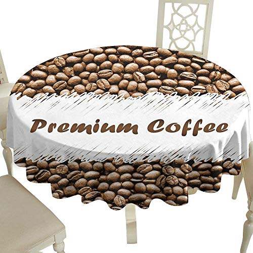 Cranekey Outdoor Round Tablecloth 70 Inch Coffee,Freshly Roasted Arabica Beans Premium Quality Doodle White Border Being Robust,Cocoa White Great for,Party & More