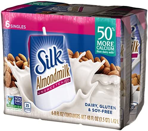 Silk Almond Milk Unsweetened 8 oz 6 Count (Pack of 3) Shelf Stable, Unsweetened, Unflavored Dairy-Alternative Milk, Organic, Individually Packaged