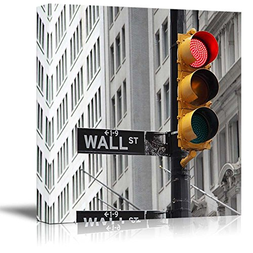 wall26 Black and White Photograph with Pop of Color on the Traffic Lights in Wall Street - Canvas Art Home Decor - 24x24 inches (Four Light Street)