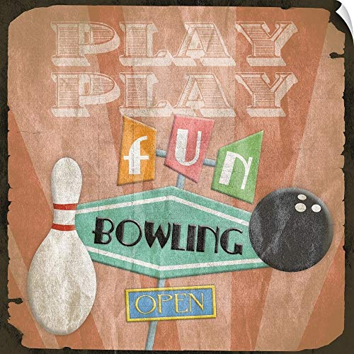 Canvas on Demand Jace Grey Wall Peel Wall Art Print Entitled Bowling Sign (Bowling Alley Signs)