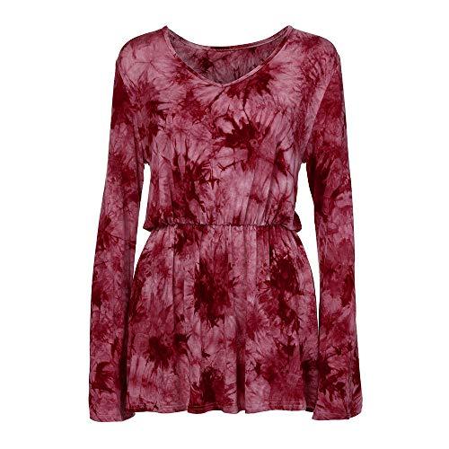 Blouse Et Vin Du Beikoard Tops Longues V Chemisier Taille Dye Neck Blouse Mode Manches Imprimer Tie Plissé Femmes Line gnqwFqx