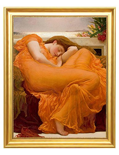 Eliteart-Flaming June By Frederic Leighton Composition Oil Painting Reproduction Giclee Wall Art Canvas Prints-Framed Size:22 3/4