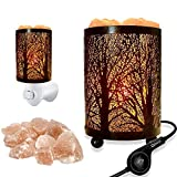 2 Pack Forest Design Himalayan Salt Lamp Table Lamp Night Light Air Purifier(4.1x6.5in),Touch Dimmer Switch Control with Forest Wall Night Light Set,Perfect Fit Himalayan Gray Salt Lamp