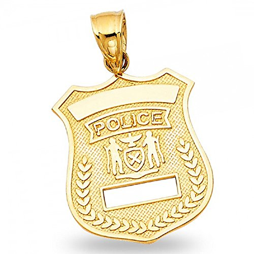 - Police Badge Pendant Solid 14k Yellow Gold Officer Badge Charm Polished Diamond Cut 20 x 17 mm