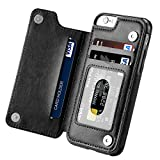 iPhone 6s Case, iPhone 6 Case, Hoofur Slim Fit Premium Leather iPhone 6 Wallet Casae Card Slots Shockproof Folio Flip Protective Defender Shell for Apple iPhone 6/6s (4.7 Inch) (Black)