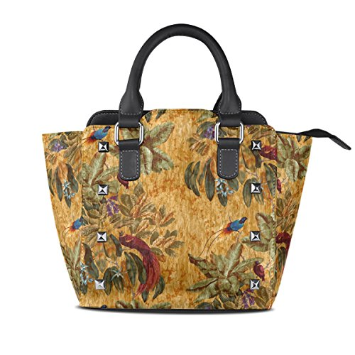 LORVIES Women Birds Of Paradise PU Leather Shoulder Bags Top-Handle Handbag Tote Crossbody (Bird Of Paradise Tote)