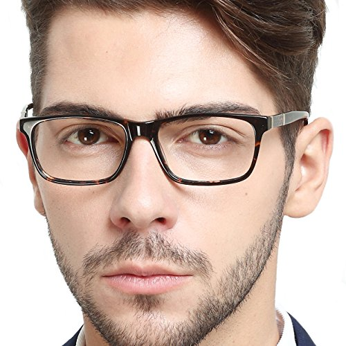 - OCCI CHIARI Men Rectangle Stylish Eyewear Frame With Clear Lens (Demi,54)
