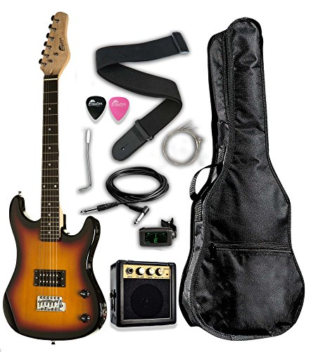 Raptor EP36-TS 3/4 Scale Kids Child Starter Electric Guitar Pack EP36 with Digital Tuner, Gig Bag, Strap, Cable, Replacement Strings, Whammy Bar, Picks, 3W/Amp, Tobaccoburst