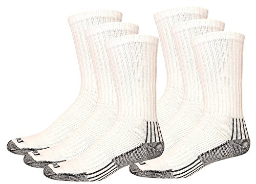 Dickies Men's Heavyweight Cushion Compression Work Crew Socks, White, 6 Pair, Big and Tall 12-15