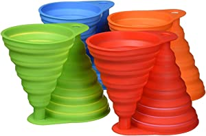 WeTest 8 PCS Silicone Collapsible Funnel Set, Foldable Kitchen Funnel for Water Bottle Liquid Transfer Food Grade (Blue/Red/Orange/Green) (LJ-CJ-121402)
