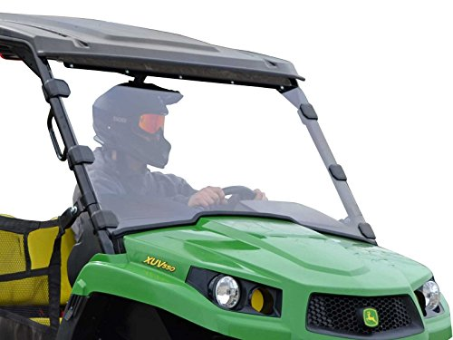 SuperATV Heavy Duty Scratch Resistant Full Windshield for John Deere Gator XUV 550 560 S4 590i (See Fitment For Compatible Years) - Installs in 5 Minutes! (John Deere Gator Xuv 550 S4 Windshield)