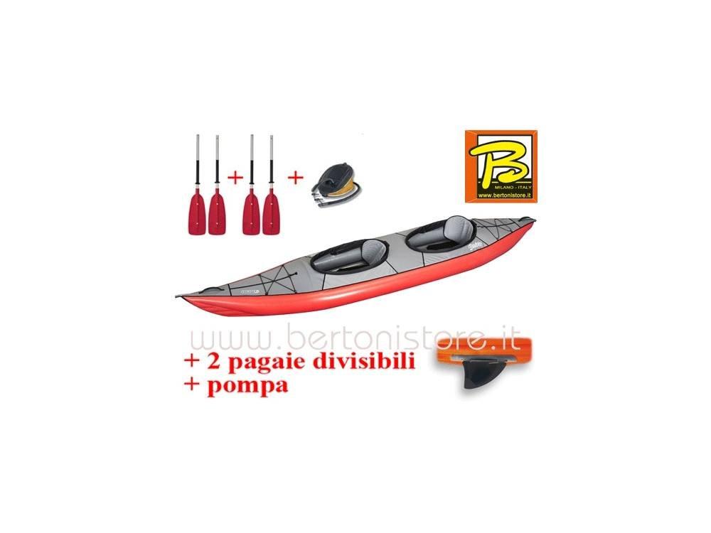 gumotex Swing 2 Rojo Kayak hinchable con aleta + Bomba + 2 ...