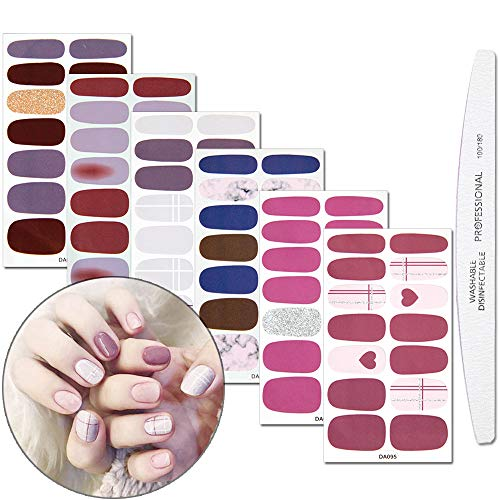WOKOTO 6 Sheets Nail Polish Stickers Wraps Solid Color Marble Pattern Manicure Self-Adhesive Stickers For Nails Polish Strips With 1Pc Nail File ()
