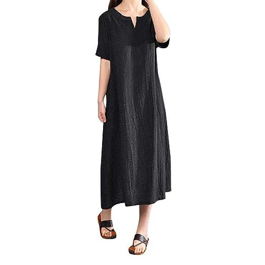 7020c999de Women s Casual Loose Maxi Long Dress Vintage Short Sleeve Linen Cotton Spring  Summer Plus Size Dress