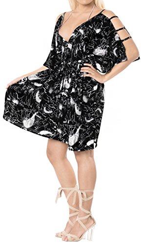 LA LEELA Soft fabric Printed Swimsuit Cover Up OSFM 16-20 [XL-2X] Black_6609 by LA LEELA (Image #5)